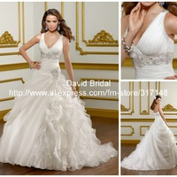 New Arrival DV112 Beaded V Neck Sleeveless Ruffles Organza Ball Gown Wedding Dress