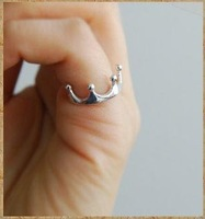 3140 South Korean star silver contracted smooth crown openings ring (inner diameter 16 MM) Free shipping