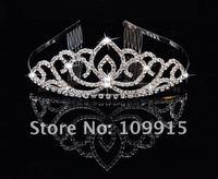Silver Plated Rhinestone Hairband Headband Tiara + Comb  Free Shipping LKT0034