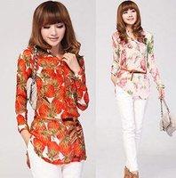 free shipping,2014 new style,lady long shirt,fashion flower T-shirt,print flower long shirt,summer T-shirt,chiffon T-shirt