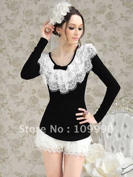 White lace stretch long-sleeved tight sexy elegant women dress prom the new fashion free shipping elastic cotton slim desgin