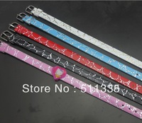 wholesale 100pcs 8mm wide / 21cm length mix color PU Leather wristband pet collar free shipping
