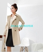 New Fashion Women&amp;#39;s Slim Fit Trench Double-breasted Coat Casual jacket Outwear free shopping!1pcs/lot