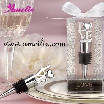 Free Shipping Letter LOVE Bottle Stopper Metal Beer Bottle Opener Silver Wedding Souvenirs Crystal Wine Bottle Stoppers