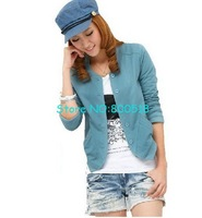 Hot selling!Free shipping!korean style women&amp;#39;s fleece coat,ladie&amp;#39;s round collar outwear,lake blue,short style,1pcs/lot
