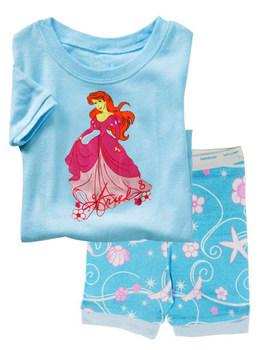PS69, 2013 Free Shipping, Princess, Wholesale Baby/Children 100% Cotton Rib short sleeve pajamas/sleepwear sets for 2-7 year.