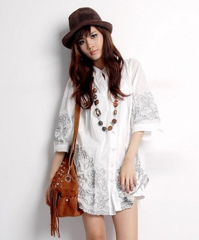 Vintage Style Embroidered Gypsy Boho Peasant Blouse Top Shirt Dress Tunic