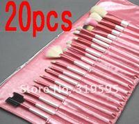 20 pcs Goat hair MAKEUP BRUSH SALON ARTIST BAG SET PINK Gift Kit
