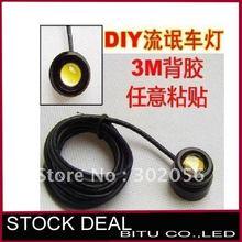 50 pcs/lote livraison gratuite 3 W bricolage LED Lights voiture avec autocollant en aluminium étanche utilisation comme sauvegarde lumière LED DRL TL058(China (Mainland))