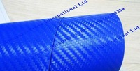 air free bubble blue carbon fiber vinyl foil for car wrapping 1.52*30m Free Shipping cfvbl30m