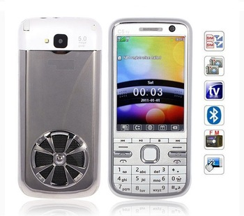 2.8 inch TV C5 Analog TV FM Dual Cards Touch Screen Cell Phone (White)