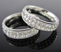 HOT!New stylish style silver tone Artificial crystal stainless steel ring A70