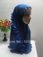 MS12030814 free shipping silk muslim higabs with falbala in each side,muslim hijab,islamic hijab,muslim scarf,islamic scarf