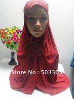 MS12030815 free shipping silk hot drill muslim higabs with falbala and stones in front,muslim hijab,islamic hijab,muslim scarf