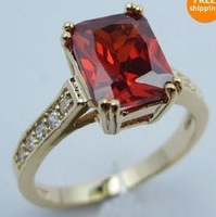 lady jewelry ruby 10kt yellow gold filled ring SzT(US size10)r46b free ship