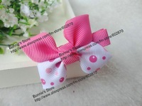 Free shipping 50pcs New Hot Pink bubbles kid's hair bows mix 74 designs hair clips  for Christmas Wholesale
