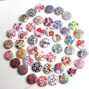 Wholesale - 120PCS Hot Sale Mixed Colorful Wooden Buttons 25mm Fit Clothes Accessories Have in Stock 110902