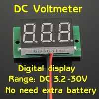 """5pcs/lot F728B#  0 - 100V DC Digital Display Voltmeter Three Bit Red 0.36 """"LED Voltage Meter With Reverse Connection Protection"""