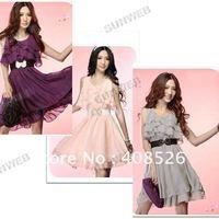 Женское платье 2013 New Fashion Women's Sexy Slim Strapless Chiffon Asymmetric Backless long Dresses 3068