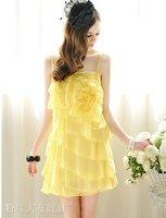 2012 summer yellow flowers flounced chiffon straps dress size L