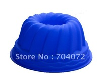 free shipping 1pc 9inch(D) * 4inch(H)  Non stick Flexible Silicone BIG Kouglof  Chiffon Cake Mold Mould Pan