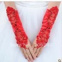 Marriage gauze gloves bride gloves fingerless gloves mittens bud silk gloves double hook flower bride gloves