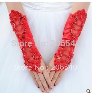 brand new free shipping Marriage gauze gloves bride gloves fingerless mittens bud silk gloves double hook flower gloves(China (Mainland))
