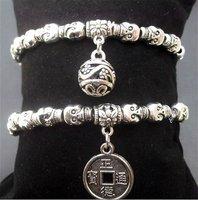 Wholesale New Vintage Tibetan Silver Skull Elastic Pendant Bracelets Stylish Handmade Mix Order DHL Freeshipping 60pcs/lot