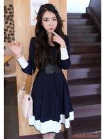 Free shipping 2013 Fasion Korean  casual mixed colors 6 buckle slim waist dress  women long sleeve dress ,+ Belt