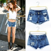 Free Shipping Fashion Distressed  Denim Short Jeans, Hot Pants,   Jeans,  Blue Jeans Pants, Short Trousers,AD9295SK