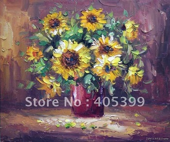 Free Shipping !!! Thick Texture Flower Oil Painting On Canvas ytdhhh037