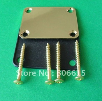 New Guitar Neck Plate & Gold Screws For  Stratocaster Strat Tele Guitar