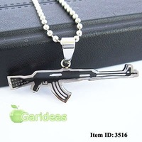 Free shipping +Wholesale Black Stainless Steel AK47 Rifle Chain Pendant Necklace Cool Gift New Item ID:3516