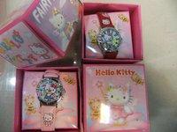1 set fashion Hello Kitty Wrist Watch Childrens Girls Ladies with Gift Box + 3D kid watch free shipping