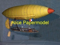 [Alice papermodel]Easy made  DuMont old airship aircraft biplane models