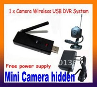 Wireless USB DVR Hidden Camera+4-channel 2.4GHz Wireless Video and Audio Recorder Hidden Came Free shipping