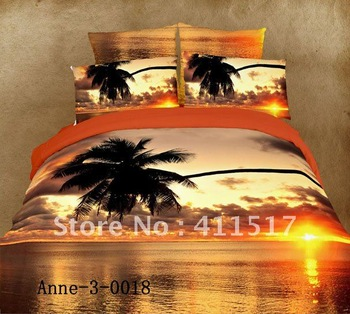100% Cotton 4 pcs Queen bed linen Sunset and coconut golden background pattern printed comforter covers bed in a bag sets