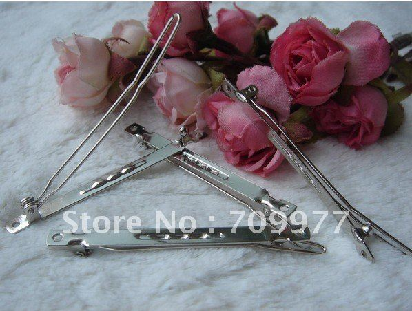 6.5CM Metal Narrow Frog Clip Barrettes Hair Bow Silver Making Accessory DIY hair clip A word clip(China (Mainland))
