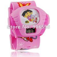 5pcs/lot Free shipping  Cheap Wholesale Cute Cartoon Projector Wrist Watch