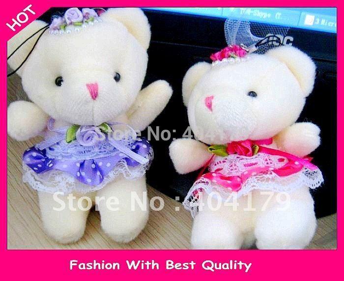 Promotional gift plush toys doll wedding mini bear wear wedding dress for birthday wedding gift phone charm 8cm 4colors 20pc/lot