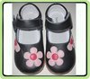 children leather shoes blk mary jane with pink flowers new arrival