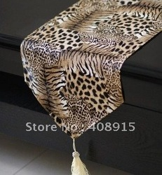Brown Tiger Leopard Stripe PU Dinner Runner, High Quality Table Ornament, Desk Runner, 200x30CM, 1pc/lot, free shipping(China (Mainland))