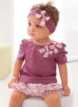 Baby clothes/Purple sets:3 pieces:headband+shirt+pant/Hot selling baby clothes/baby wear in stock/ Lovely New designs