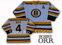 Boston  Bruins #4 Bobby Orr  White  Color  Throwback hockey jerseys  CCM jerseys mix order