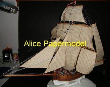 [Alice papermodel]18th century Empire navy HMS Hunter Galleon Sailing sailboat warships yacht models
