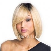 Freeshipping New Stylish Straight  Middle Long White&Black in the top Fancy Dress Hair Women's Wig Synthetic  Natural Wig/Wigs
