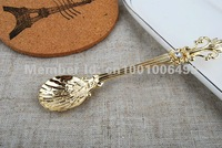 Wholesale 60 pcs/lot super mini 10.8cm gold spoon Flower and Baker spoons for tea coffee ice cream spoons as gift