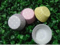 free shipping 1000pcs hot white dot with colorful type cupcake liners baking paper cup muffin cases for party