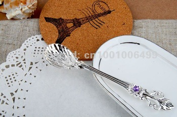 tea coffee ice cream spoons as gift Flower and Baker spoons Silver