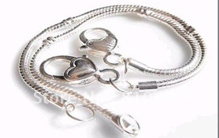 wholesale Silver plated biagi Chamilia Italian charm bracelet fit beads heart lobster clasp 19cm and 20cm 100pcs(China (Mainland))